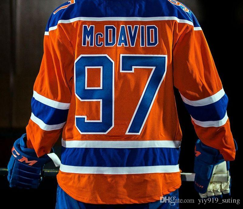 2017 Edmonton Oilers Alternate Jersey Mens  97 Connor Mcdavid Orange Ice Hockey Jersey Stitched