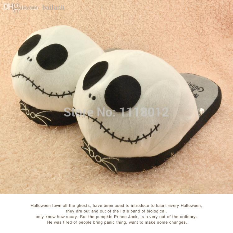 2018 wholesale anime cosplay cartoon nightmare before christmas jack skellington slippers brand adult slippers plush home cute winter slipper from bailanh