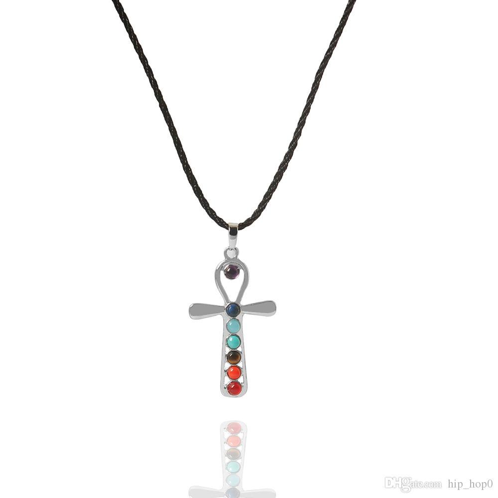 Sieben Perlen natürliche Quarz Edelsteine Stein Anhänger Halskette Yoga Energie Heilung Punkt Chakra Reiki Pendent Halskette mit 18 Zoll Kette
