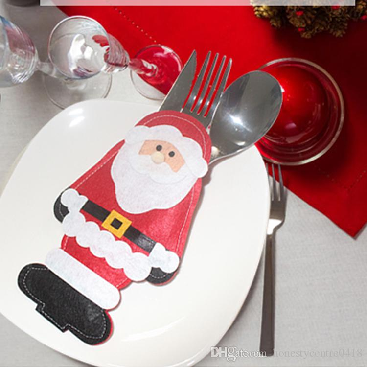 New Santa Claus Knives And Forks Holder Bag Xmas Decoration Bags Christmas Tableware Suit Christmas House Decorations Christmas House Ornaments From ... & New Santa Claus Knives And Forks Holder Bag Xmas Decoration Bags ...