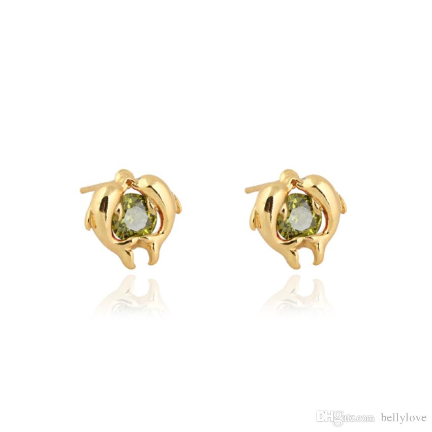 Fashion Animal Jewelry 18K Yellow Gold Plated Stone Cute Mini Double Dolphin Lovers Stud Earrings for Women