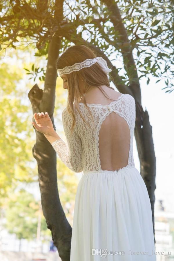 Vintage Brautkleider Lace Sleeves Günstige Brautkleid Land-Art Boho böhmischer Chiffon- Rock-Brautkleider mit geöffnetem zurück