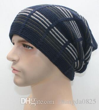 8f1ba197e88b3 2016 New Men Fashion Winter Horizontal Striped Knitting Hats Designer Men  Cashmere Outdoor Sports Hit Color Wool Caps Christmas Gift Beanies Snapback  Hats ...