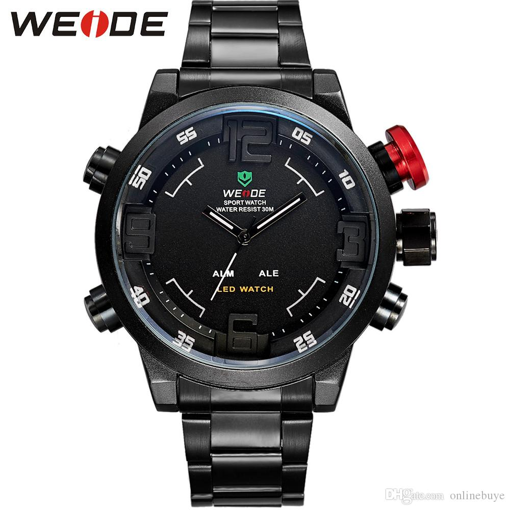 096d0c4d03c WEIDE WH2309 Relogio Multi Function Military Watch For Men S Quartz Fashion  Casual Watches Men Full Steel LED Display Wristwatches Watches Online  Skeleton ...