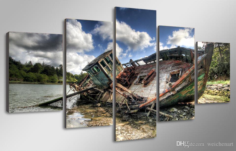 5 Unids / set No Enmarcado HD Impreso Fresco Barco de Pesca Pintura de la Lona Impresión de la habitación decoración cartel impresión lienzo Envío gratis / ny-4309
