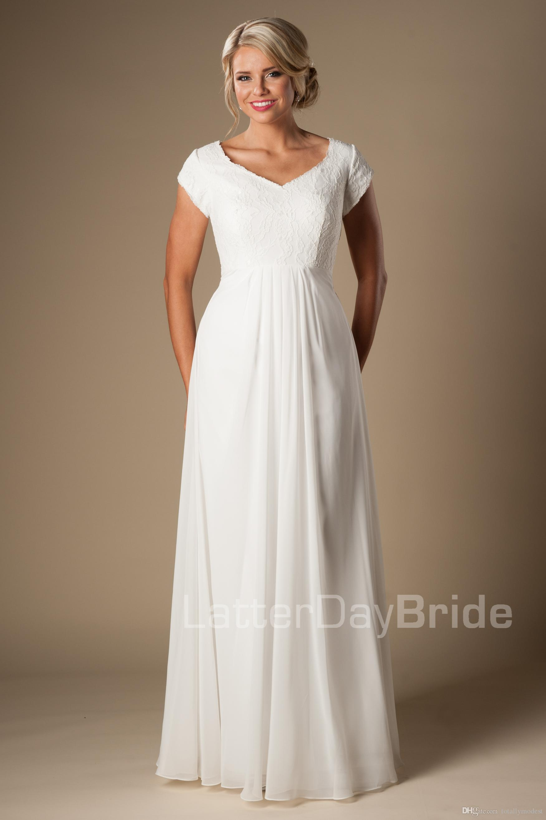 Discount Simple Ivory Lace Chiffon Modest Beach Wedding Dresses Cap Sleeves V Neck Long Floor Bridal Gowns A Line Informal Reception Pictures: Informal Second Wedding Dresses Simple At Websimilar.org