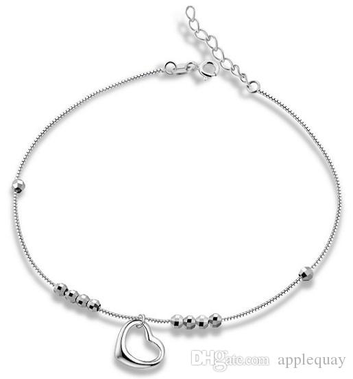 Pure 925 Sterling Silver Jewellery Anklet Foot Chains Woman Ladies Heart Love White Gold Fashion Casual Valentine's Day Christmas Gifts