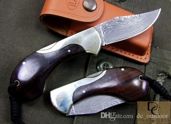 DK043 달팽이 스타일 접이식 칼 손으로 만든 다마스커스 블레이드 구리 + 에보니 손잡이 가죽 외장으로 고품질