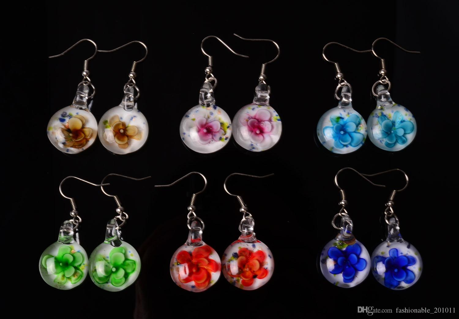 Earrings Lampwork Glass Round Sterling Silver Earrings Making Things Convenient For The People Jewelry & Watches