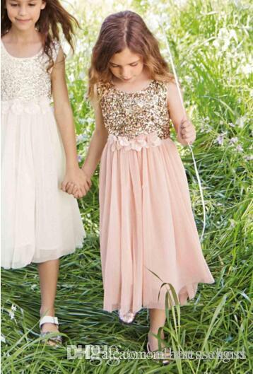 Blush Flower Girls Dresses Gold Sequins Hand Made Flower Sash Tea Length Tulle Jewel A Line Kids Formal Party Dress Junior Bridesmaid Dress