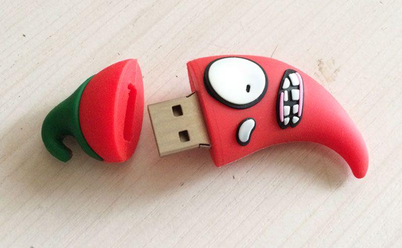 4GB 8GB No Logo PVC Red pepper USB Flash Drives Brand New Plastic Mini Cartoon Red pepper U Disk USB2.0