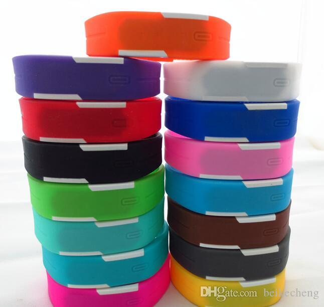Wholesale-200pcs/lot Mix 14colours Sports led Digital Display touch screen watches Rubber belt silicone bracelets Wrist watches LT012