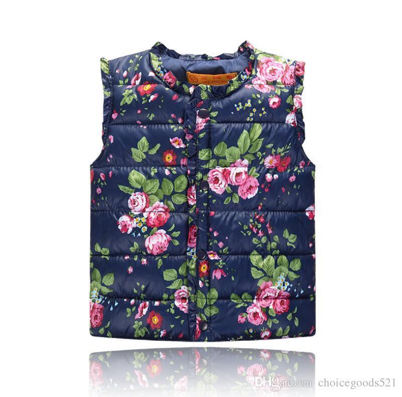 da279693a07b Girls Waistcoat Kids Jackets 2017 Autumn Vest Kids Clothes Floral ...