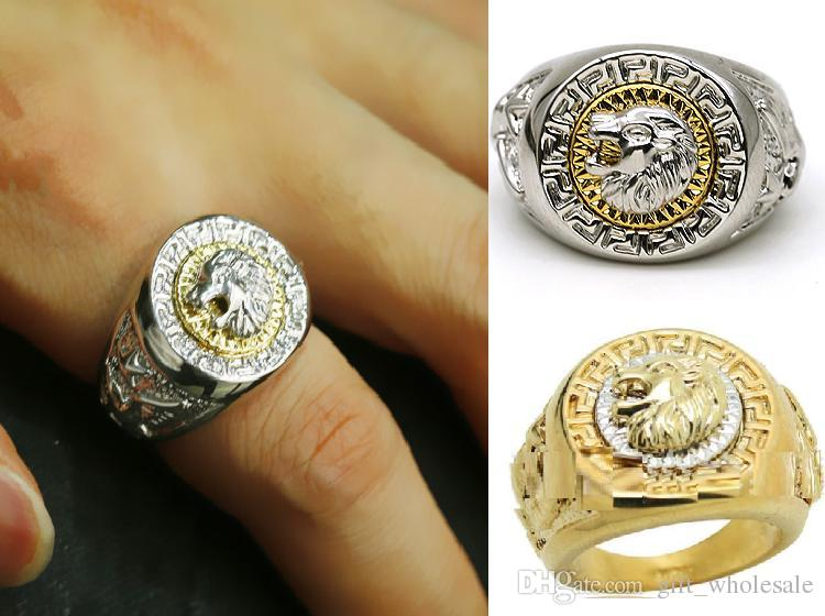 exquisite lion 18k gp gold white k men s ring high quality