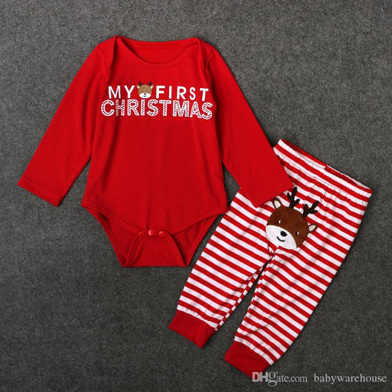 Hot Kids Christmas Clothing Set Newborn Clothes Baby Boy Clothes Baby Girls Clothes Long Sleeve Romper + Pants Infant Xmas Outfits Sets