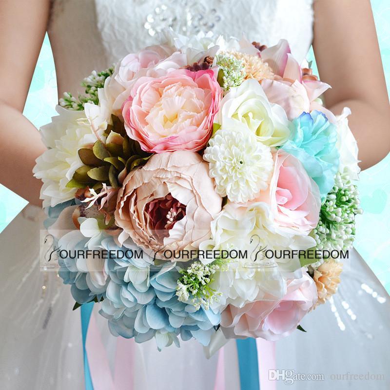 WF053 Nueva Boho Beach Wedding Flowers Ramo Dama de honor Banquete de boda Flores de seda Venta caliente Verano Decoraciones baratas