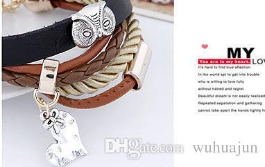 Unique Design Women PU Leather Bracelet Metal Owl Bracelets Brown Color Multi Rows Heart Pendant Bracelet Girls Woven Vintage Bracelets
