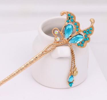 Chinese Design Vintage Golden Plated Hairpin Crystal Butterfly Hair Sticks Bridal Wedding Jewelry Headpieces Hair Pins