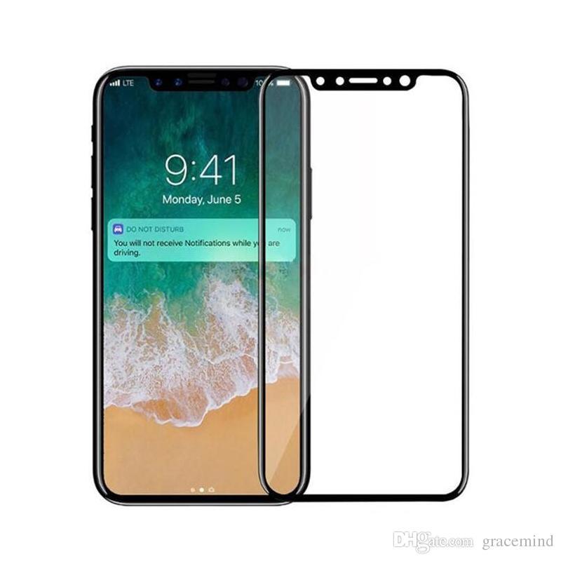 2a8e7f7a60b Protector De Pantalla Para Celulares Para IPhone X Full Cover 4D Protector  De Pantalla De Vidrio Templado Para IPhone X 4D Película Protectora De  Borde ...