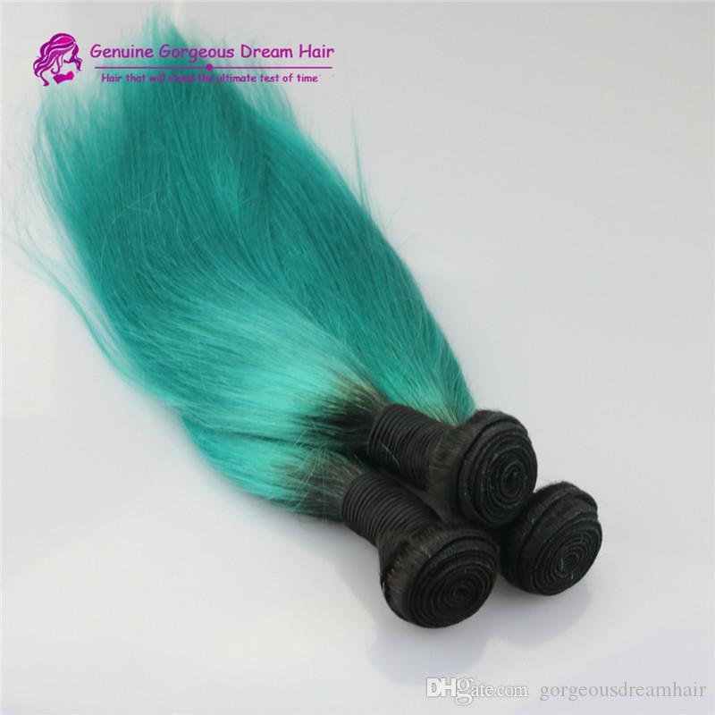 أومبير # 1bt الأخضر أومبير لحمة الشعر البرازيلي الإنسان الشعر حزم مستقيم لحمة blackgreen 3 قطعة / الوحدة ينسج