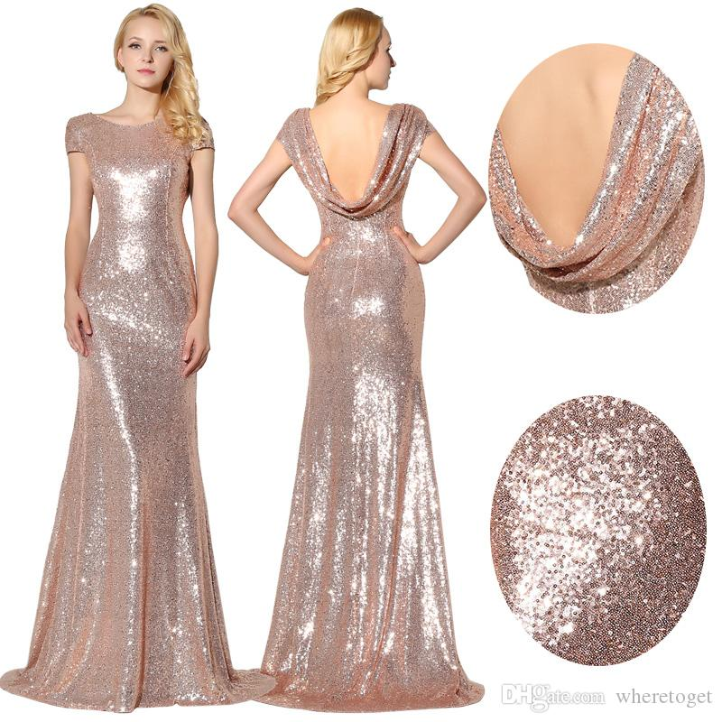 In Stock Sparkly Rose Gold Sequins Bridesmaid Dresses 2016 Jewel Short  Sleeves Maid Of Honor Bling Bling Prom Dress Evening Gowns SD347 Bridesmaid  Dress ... da736cc09a01