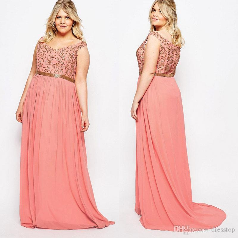 Stunning Plus Size Prom Dresses V Neck A-Line Chiffon Formal Dress Floor  Length Pleated Evening Gowns