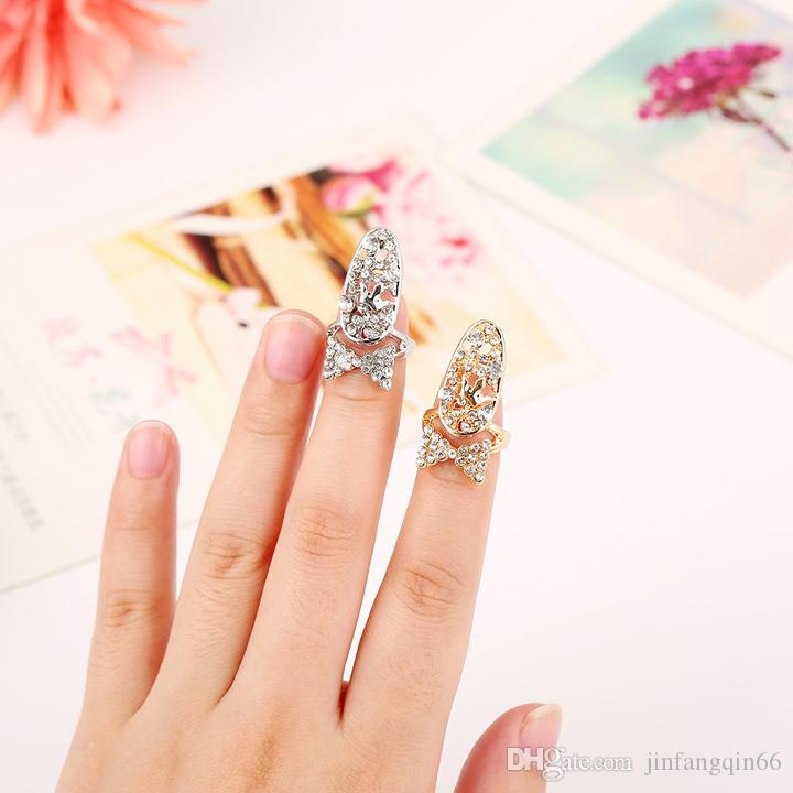 Fashion European and American style Artificial Nail Cover Finger set rings Full Crystal Rhinestone Fingernail Rings jewelry Special gift
