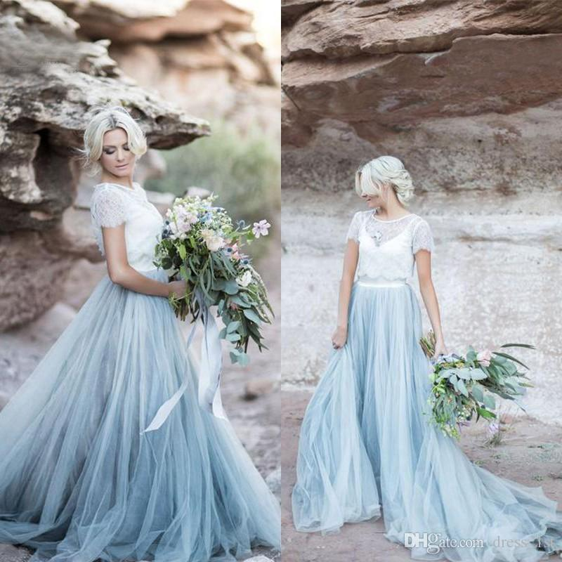 Discount Modest Dusty Blue Tulle White Lace A Line Country Wedding Dresses 2017 New With Short Sleeve Ruched Long Bridal Gowns Custom Made En101311 Straight