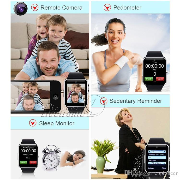 GT08 Smart Watch Compatible Platform With Pedometer Camera Monitoring Sleep Sedentary Reminder For Android Samsung DHL OTH098