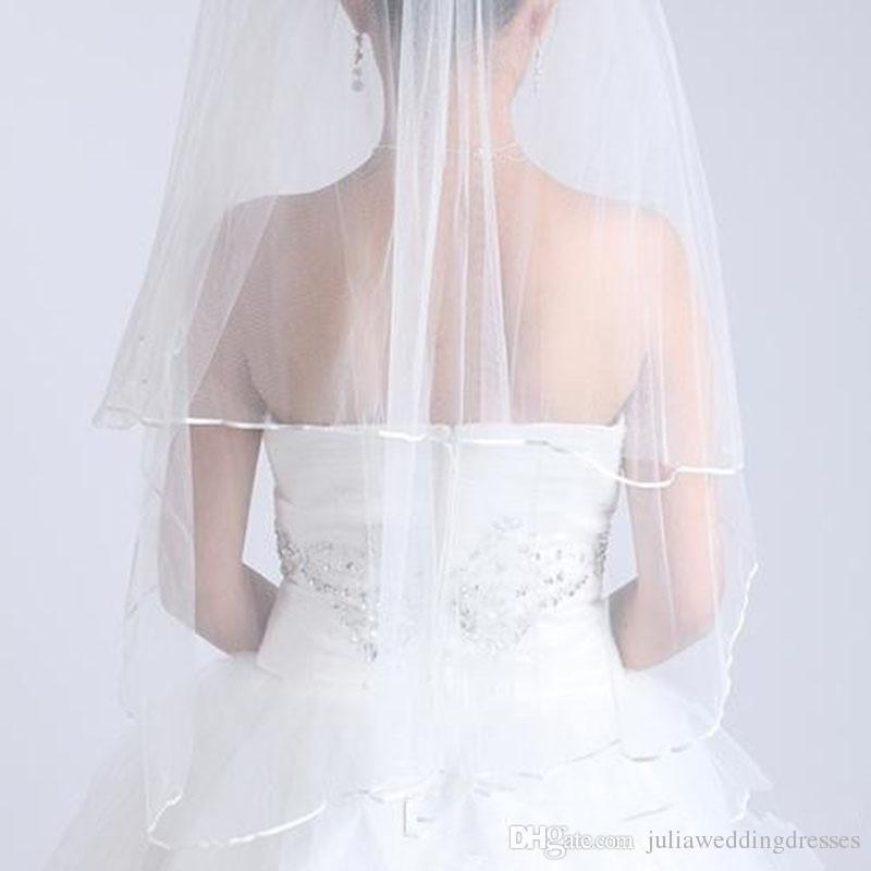 2020 Yeni Düğün Peçe Stokta Peçe Düğün Aksesuarları Beyaz Fildişi Şerit Kenar İki Katlı Tül Gelin Peçe