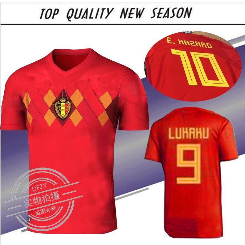 2018 Belgium Home Top Rojo LUKAKU FELLAINI E PELIGRO KOMPANY DE ... de5d7ffe42eb5