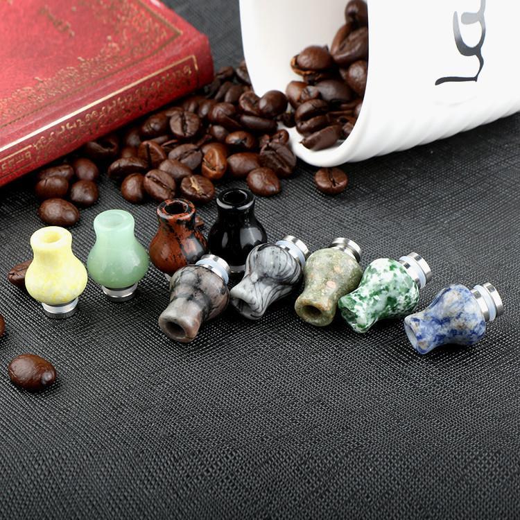 Jade Store 510 Drip Tip E Zigaretten Carving Art Glas Drip Tip Jade Stein Tropfspitze mit Edelstahl Wide Bore Atomizer Mundstücke