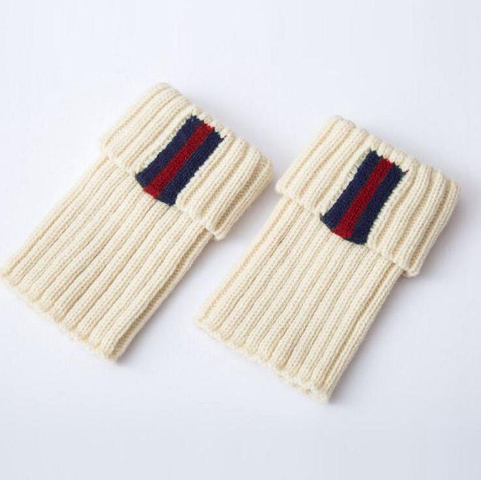 Knitted Boot Cuffs Striped Women Ladies Crochet Toppers Knit Leg Warmers Winter Short Boot Socks OOA2915