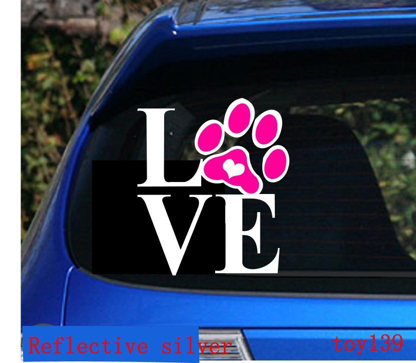 Love Dog Cat Paw Print With Heart Car Decal  Sticker - Funny car decal stickers