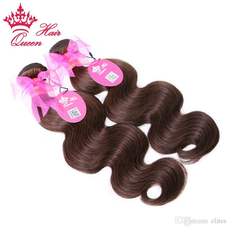 "Queen Hair Products 4 Bundles Brazilian Virgin Hair Body Wave 100% Human Hair #2 Natural Brown Color 14""-20"""