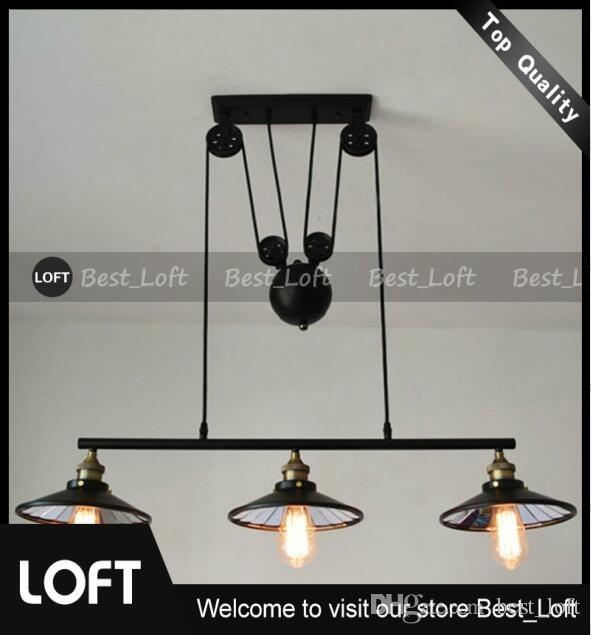 3 Head Vintage Iron Rh Loft Industrial Led American Country Pulley Pendant  Lights Adjustable Wire Lamps Retractable Bar Lighting With Mirror Drop  Ceiling ...