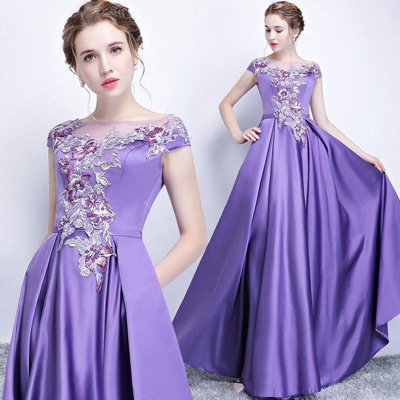 Evening Dress Elegant Purple Scoop Neck Short Sleeves Lace Up Back ...