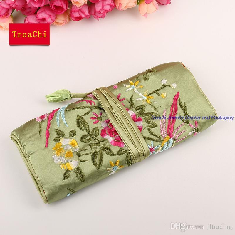 Wholesale Chinese Wind Silk Multifunctional Jewelry Organizer Pouches 3 Zipper Bag Ring Bar Silk Embroidery Flower Bird Travel Roll Bag