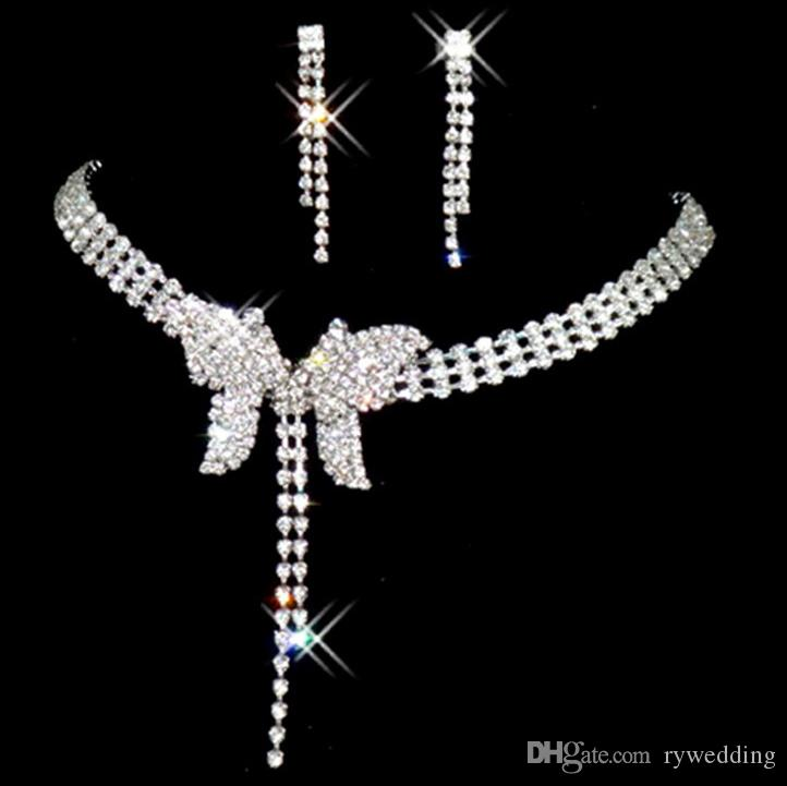 Bridal Accessories Diamond Crystal Butterfly Necklace Earring