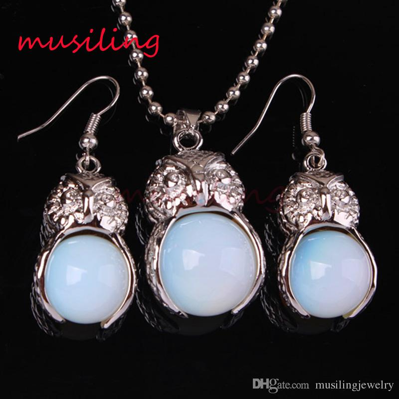 Jewelry Set Pendant Necklace Earrings Owl Natural Gem Stone Jewelry Sets Amethyst Crystal Opal etc Accessories Fashion Charms Amulet Jewelry