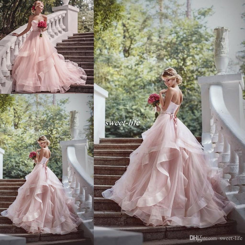 Beaded Cheap Organza Beach Wedding Dresses China Ball Gown: Romantic Ball Gown Wedding Dresses Ruffles Organza Beads