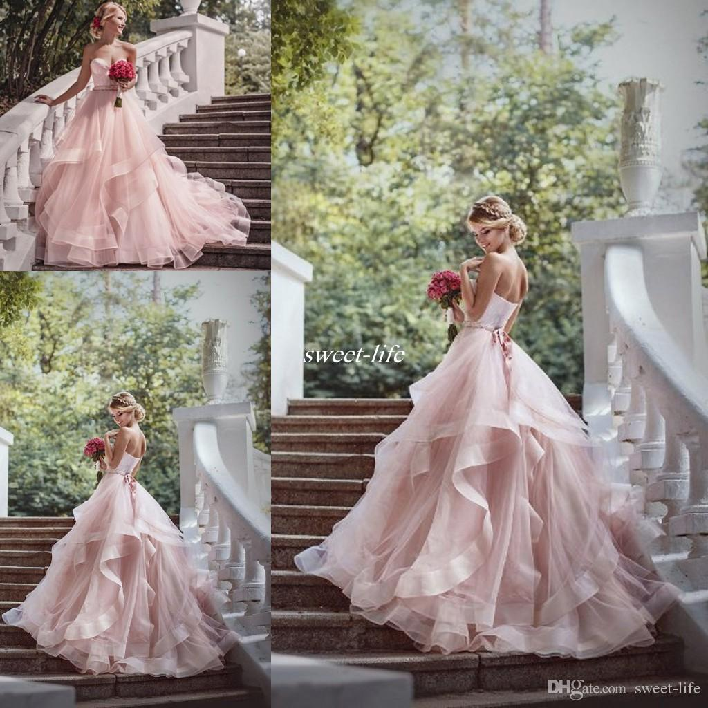 Romantic Blush Ball Gown Wedding Dresses Ruffles Organza Beads Lace ...