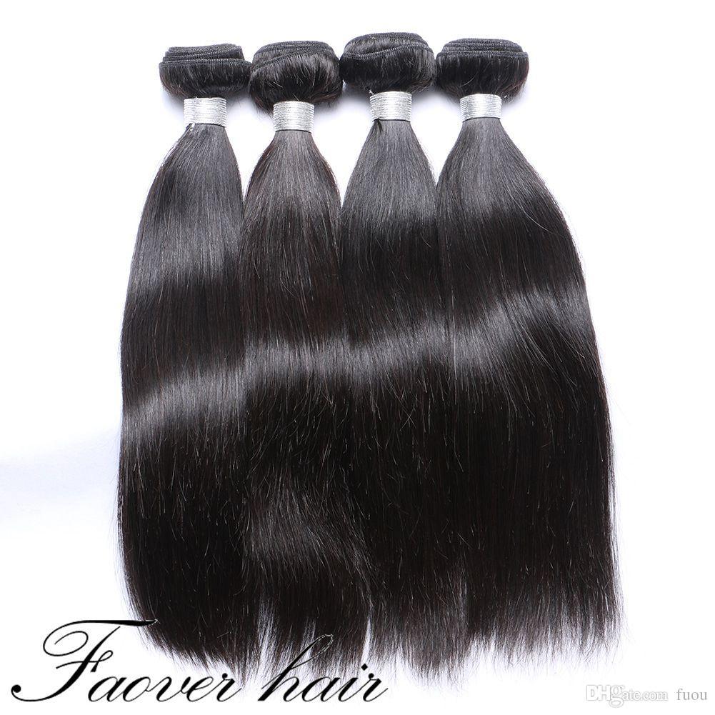 100% DESPROCESADO Extensiones de cabello humano recto natural sedoso de la trama del pelo humano de la trama virginal del pelo por el envío libre