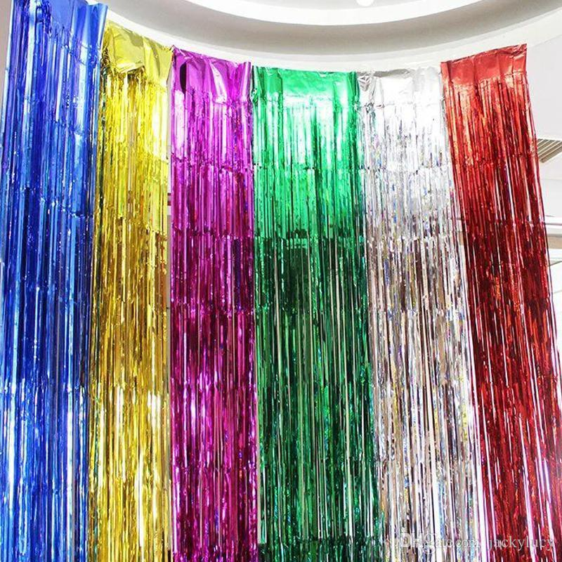Free Shipping Colorful Laser Rain Curtains Ribbons for Wedding Baby Shower Birthaday Christmas Backdrop Wall Hanging Decorations Props