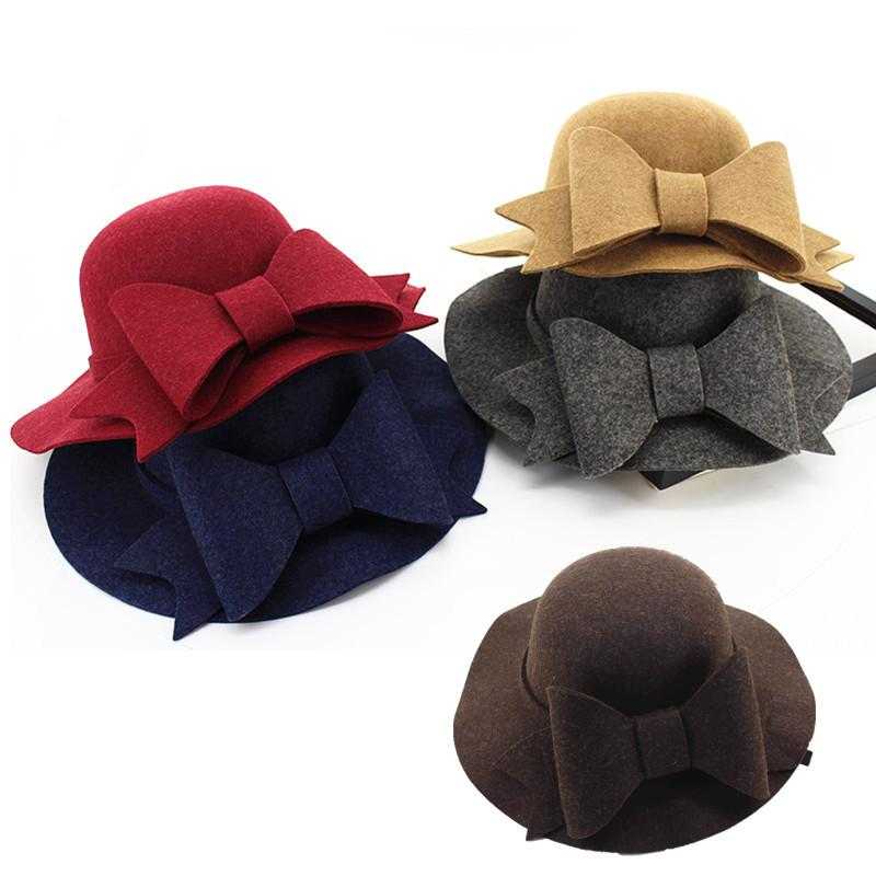 55f36313d8847 Autumn Winter Women Wool Felt Fedoras With Bow Fashion Ladies Girls Wide  Brim Hats Caps Vintage Dome Sun Top Hats GH 154 Eric Javits Flat Brim Hats  From ...