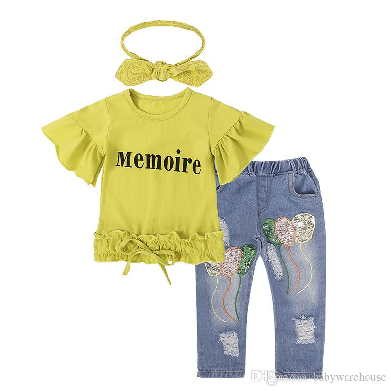 아기 여자 옷 여름 가을 정장 옐로우 문자 반팔 T 셔츠 + 청바지 + 머리띠 / 세트 장식 조각 풍선 바지 아이 옷 세트