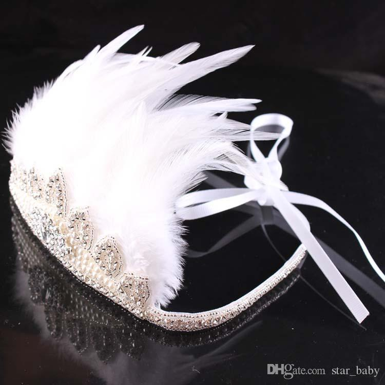 DHL EMS Luxury Girls Bohemia Glitter Crown Headband girls Feather Headbands Girls Baby Princess Diamond Beading Hair Accessories K7047