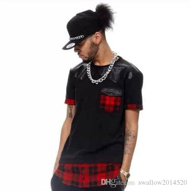 Tyga Red Plaid Men/women hip hop swag extended Lengthen Leather T-shirt Oversized Men T Shirt Cool Tee leather t-shirt swag LK