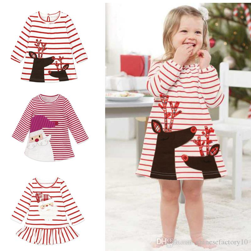 2f37f584e26 2019 2018 New Christmas Girls Dress Santa Claus Deer Dresses Baby Girl  Autumn Winter Elk Long Sleeve Stripe Dress Kids Xmas Princess Clothing From  ...
