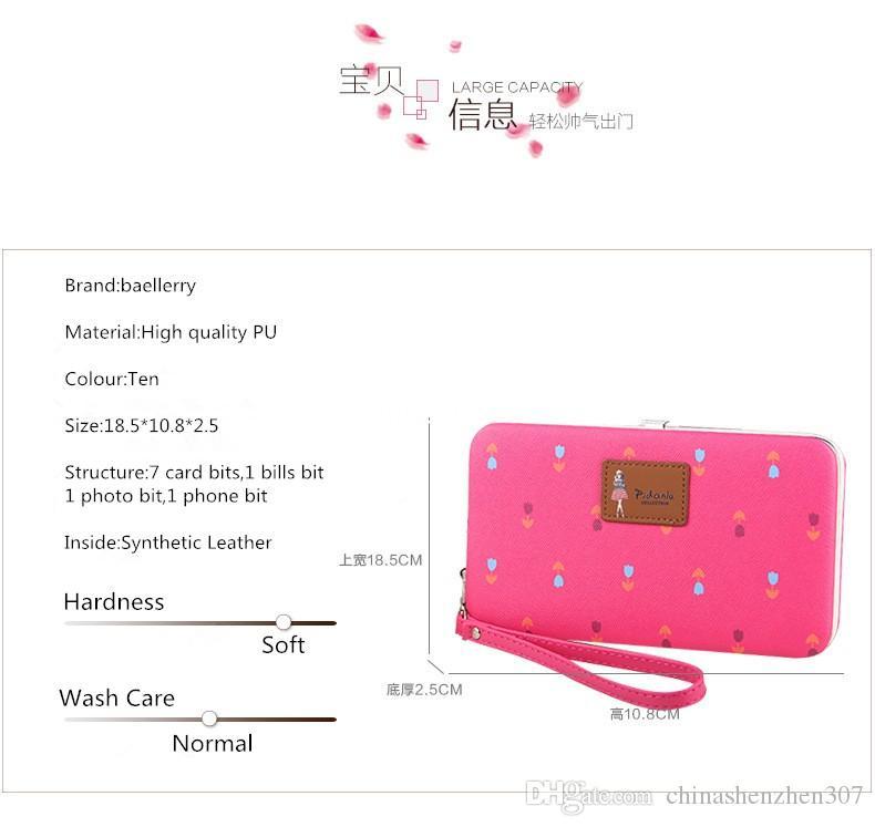 2016 Baellerry Reißverschluss Geldbörse Frauen Geldbörsen Berühmte Marke Damen Handtasche Kartenhalter Geldbörse Telefon Taschen Carteras Mujer